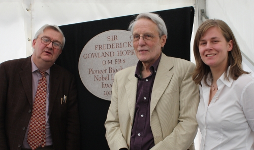 Adam Perkins, Nicolas Hawkes and Zoe Rees with the Hopkins Plaque