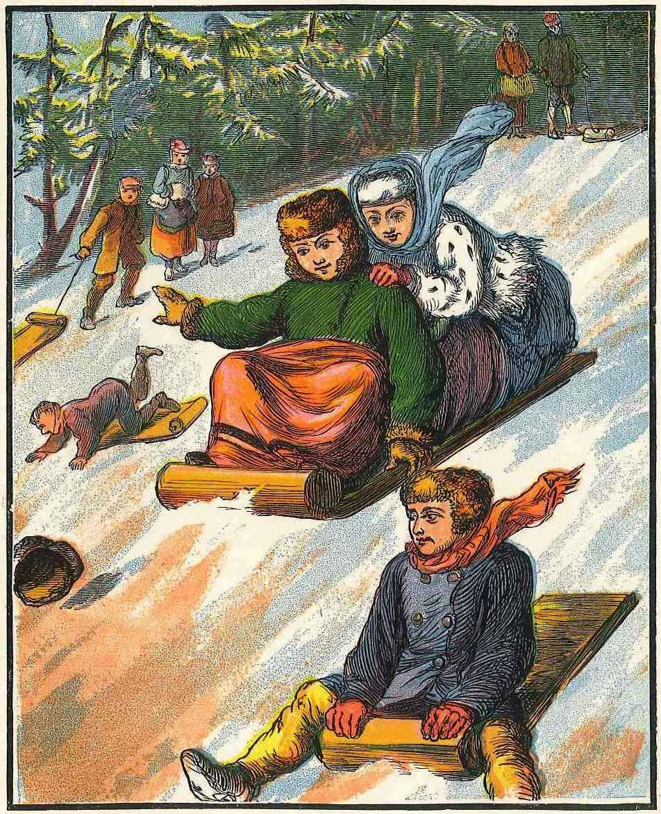 Tobogganing in Winter