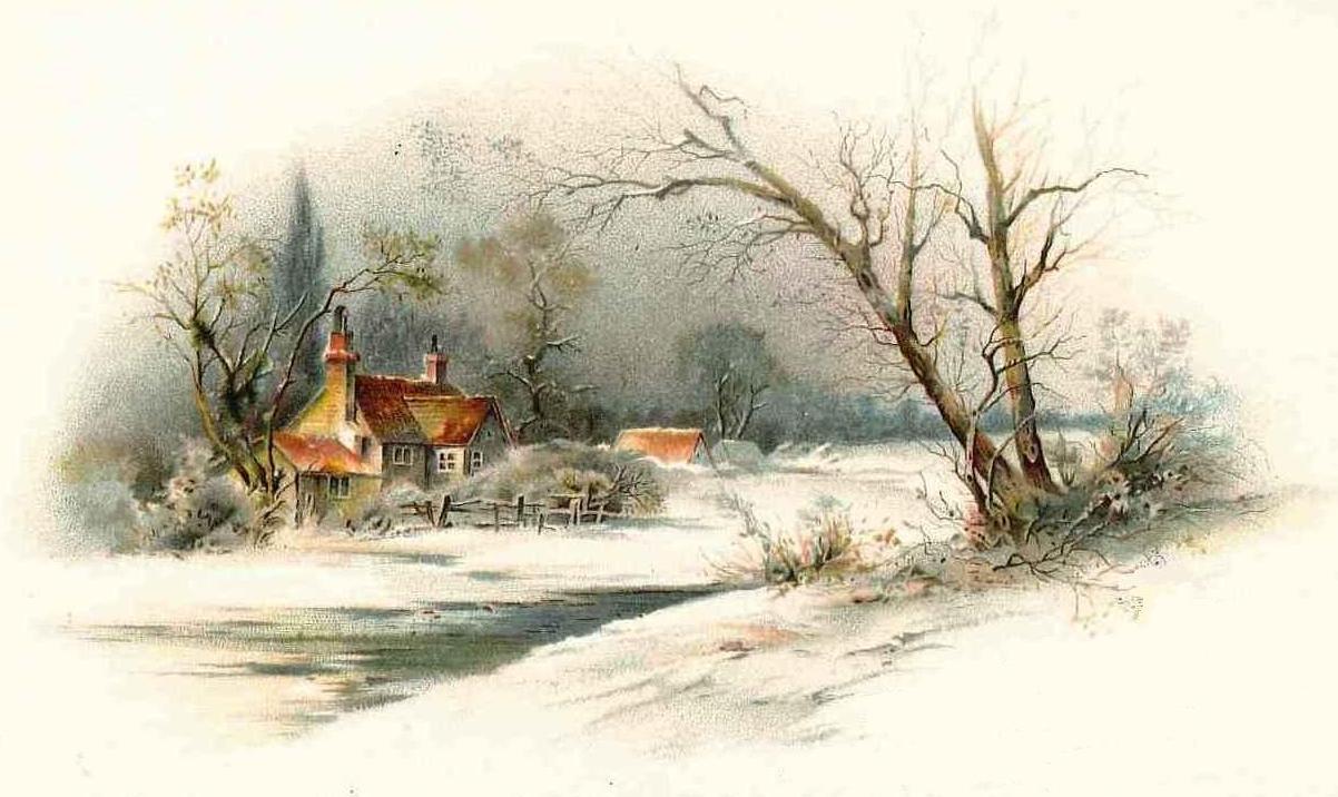 Christmas joy and peace snowscene