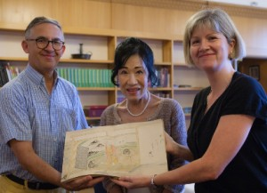 Professor Peter Kornicki, Honorary Keeper of Japanese Books, Professor Mikiko Ishii and University Librarian Anne Jarvis