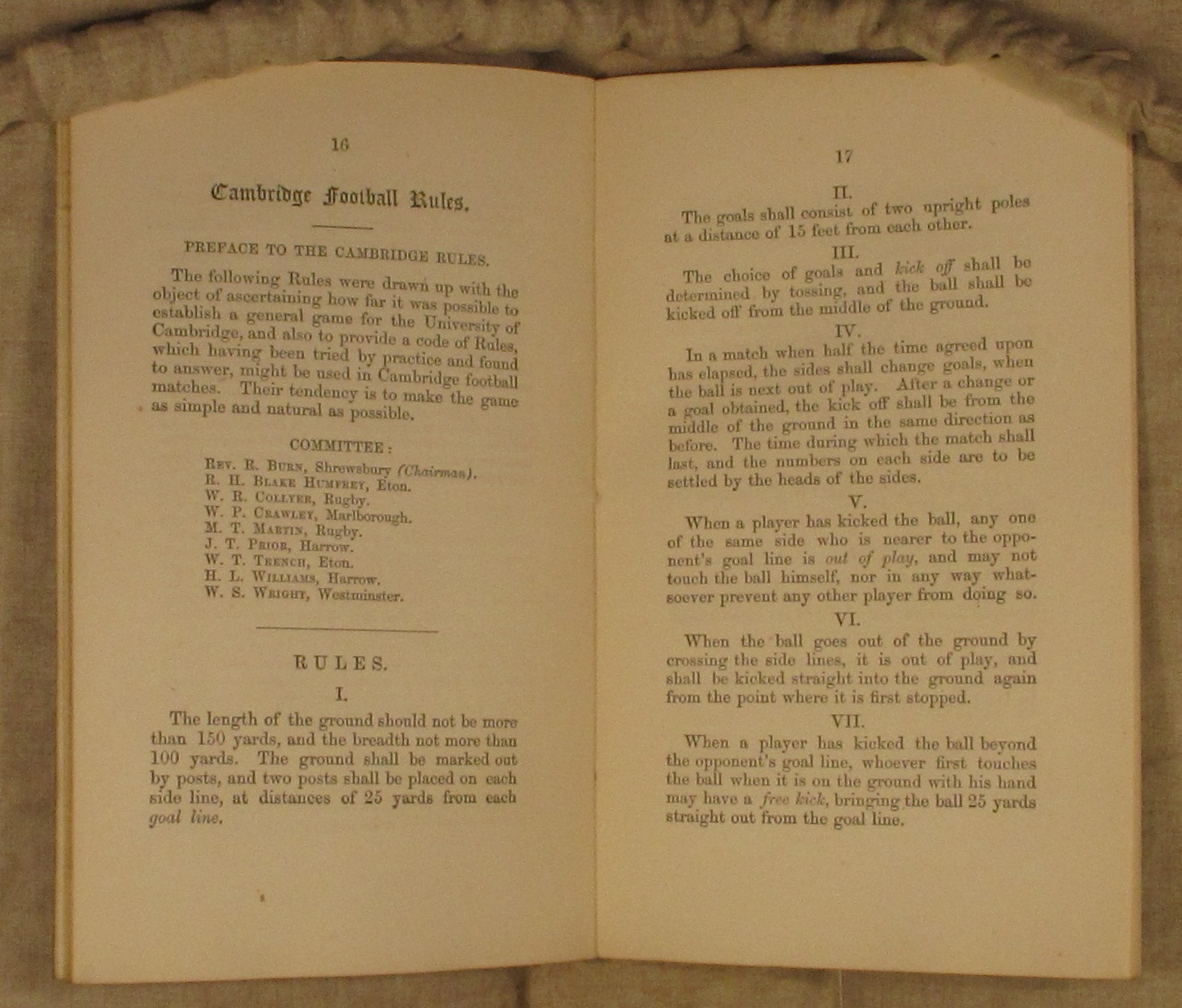 Image result for cambridge rules 1848
