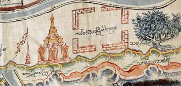 Detail of Burmese fabric map