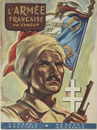 The cover of 'L'Armée Française au combat', No. 3, août 1945. Illustration by Raoul Auger.