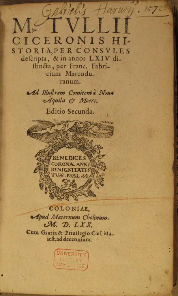 Harvey's inscription on the title page of the Cicero (F157.d.1.1)