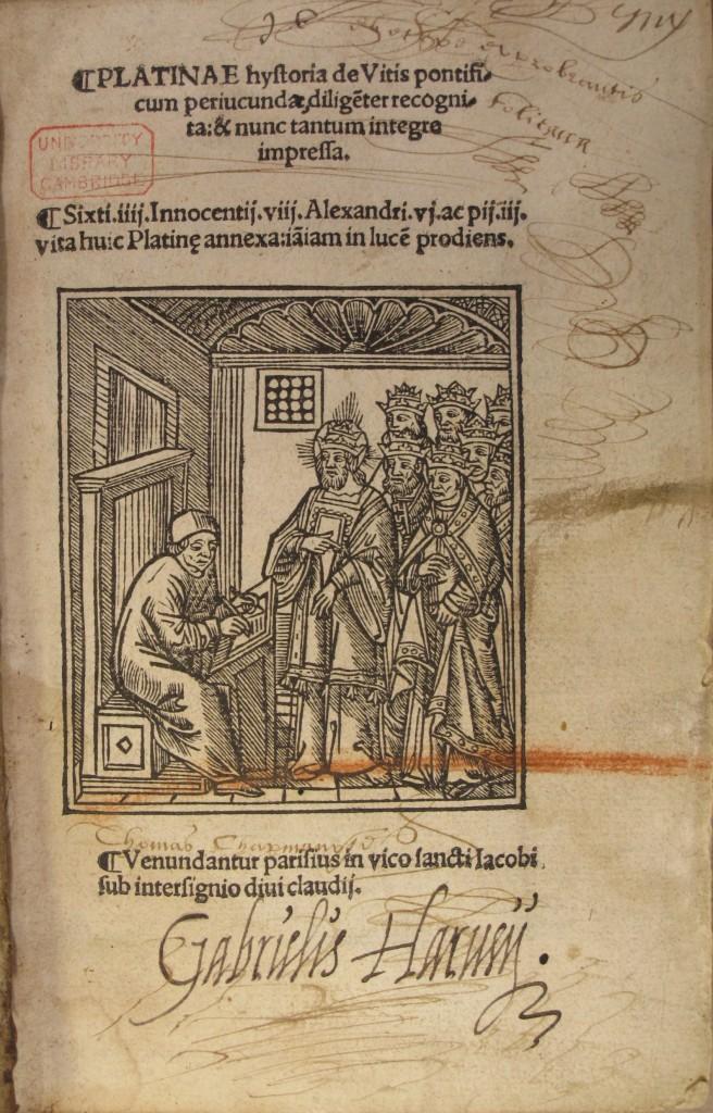Harvey's inscription to the title page of Platina's Hystoria de vitis pontificum (Paris: 1505), Rel.d.50.2