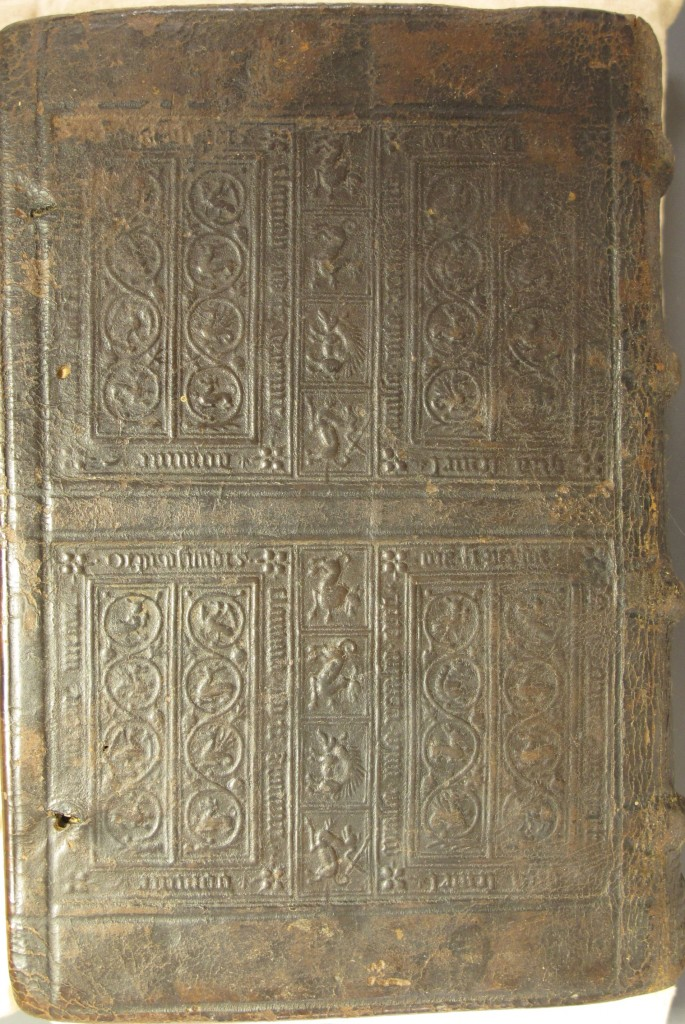 Early sixteenth-century blindstamped binding on Platina (Rel.d.50.2)