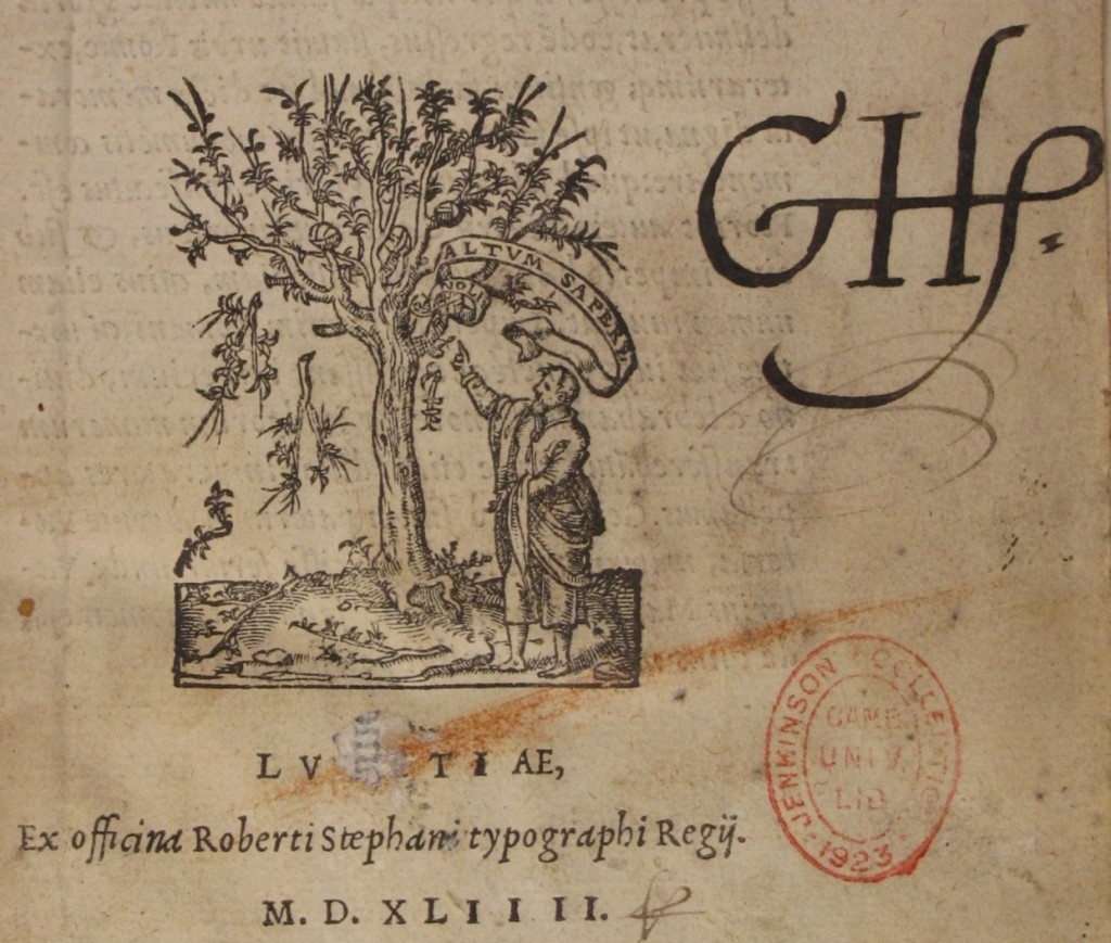 Harvey's initials on the title page of Valerius (Adv.d.8.1)