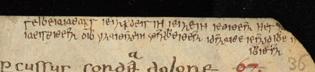 The cryptogram written in Greek letters (CUL MS Ff.4.42, fol. 36r).