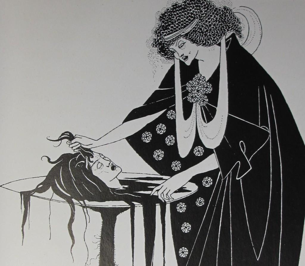 """Beardsley's illustration for Wilde's Salome, in Brooke's copy of Robert Ross' """"Aubrey Beardsley"""" (1909), inscribed by Brooke to Geoffrey Keynes. Keynes.J.7.17"""