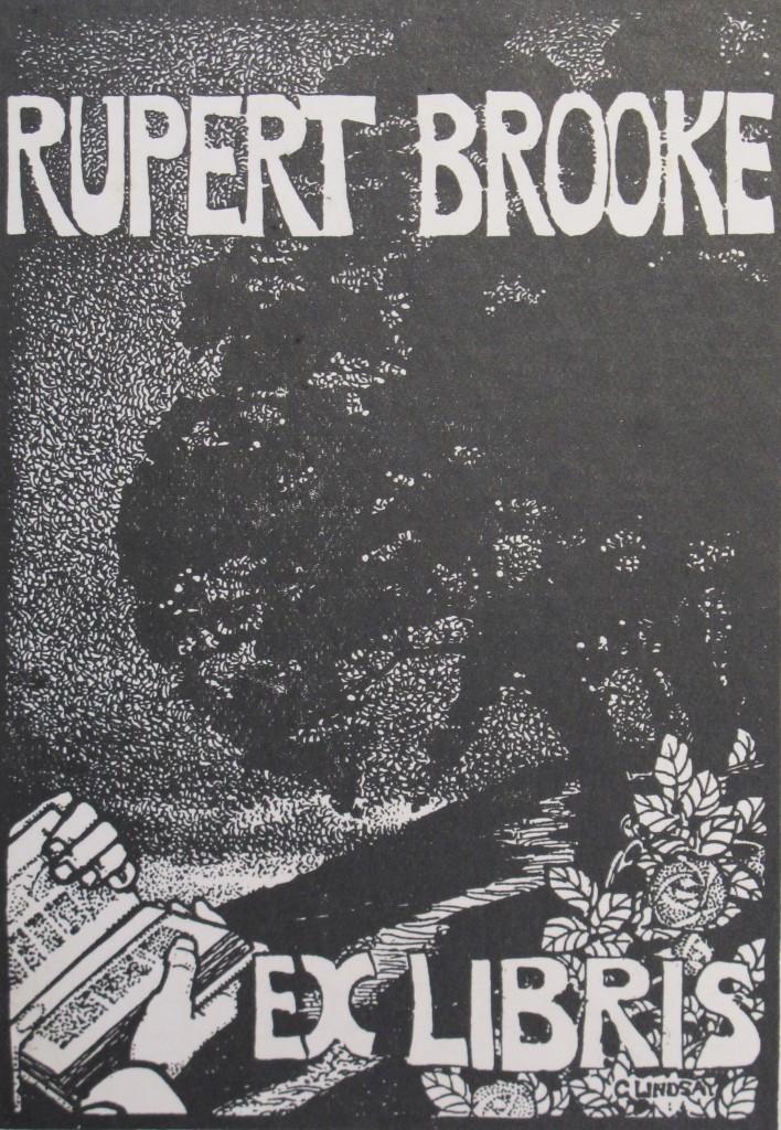 Brooke's bookplate, in his copy of Wilde's De Profundis (1905), Keynes.J.7.11