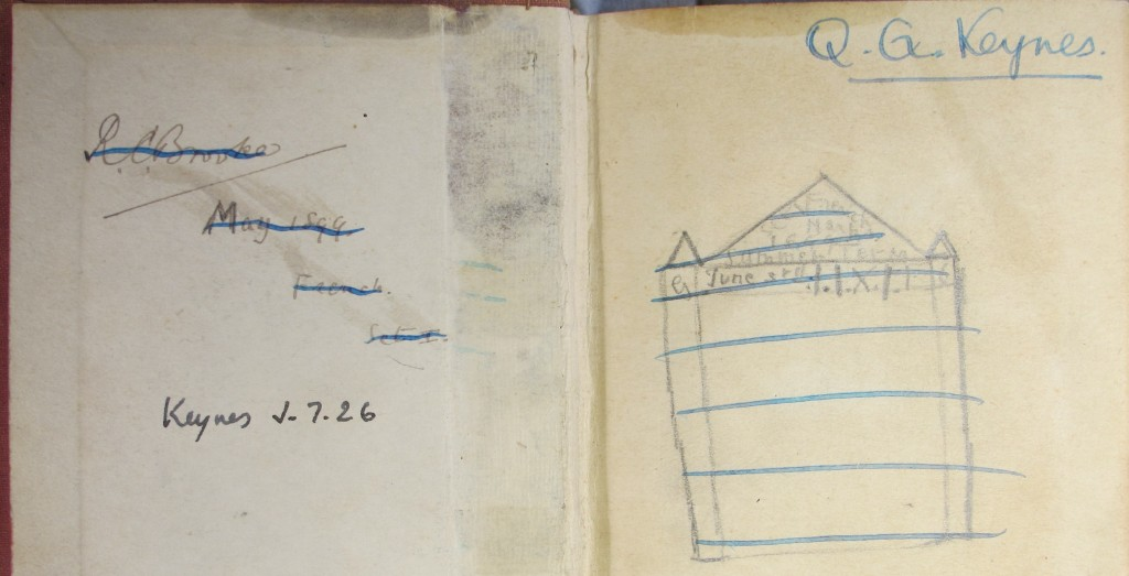 Inscription by an eleven-year-old Brooke in an 1897 pocket English/French dictionary (Keynes.J.7.26), later given by Keynes to his young son Quentin, and drawn in by him