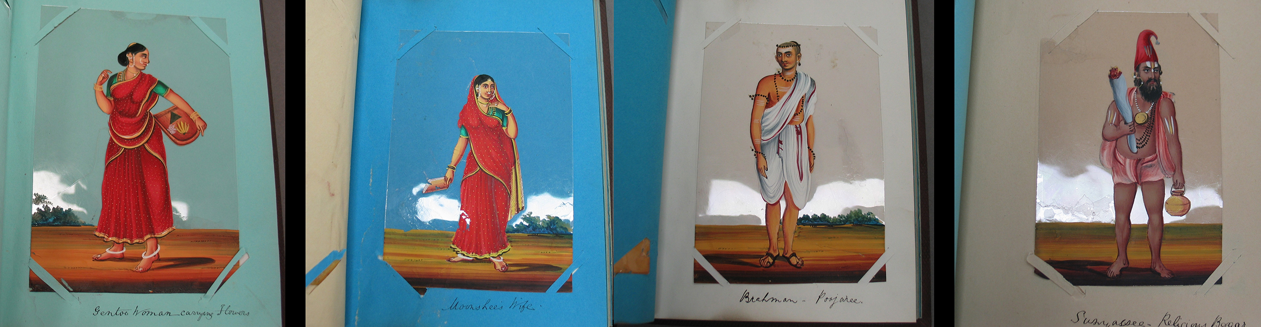 Four mica paintings in their original album