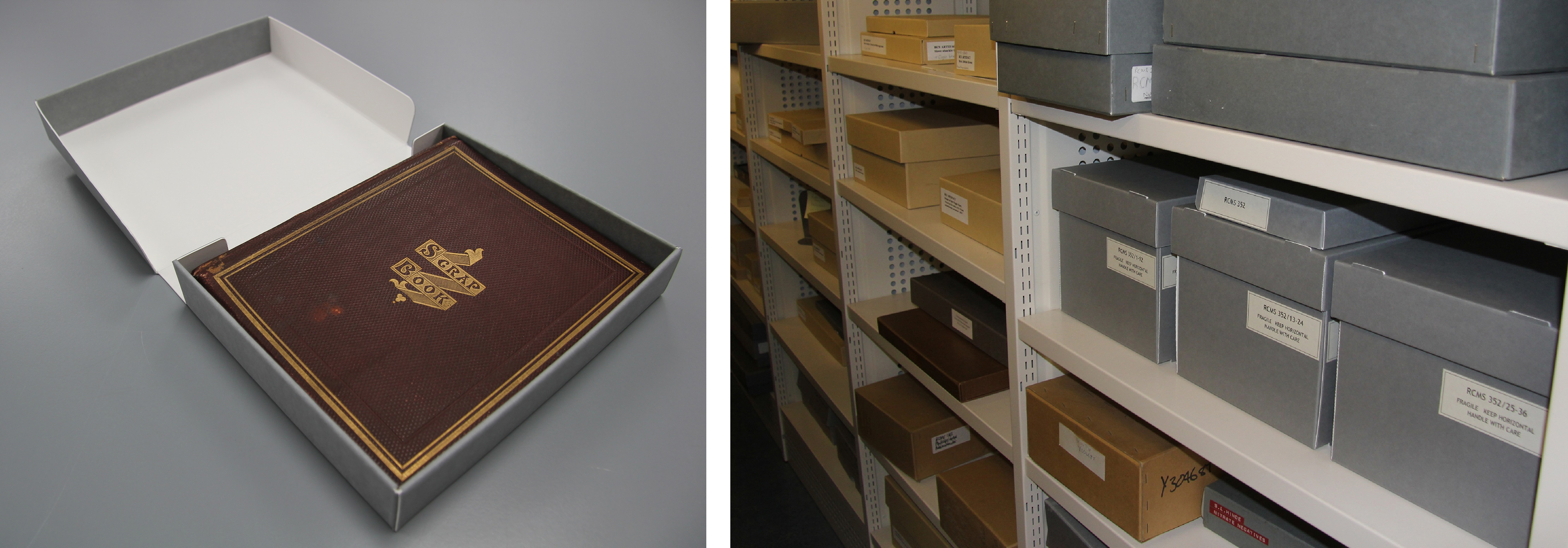 (L) Custom made box containing original album (R) The position of the mica in the stacks