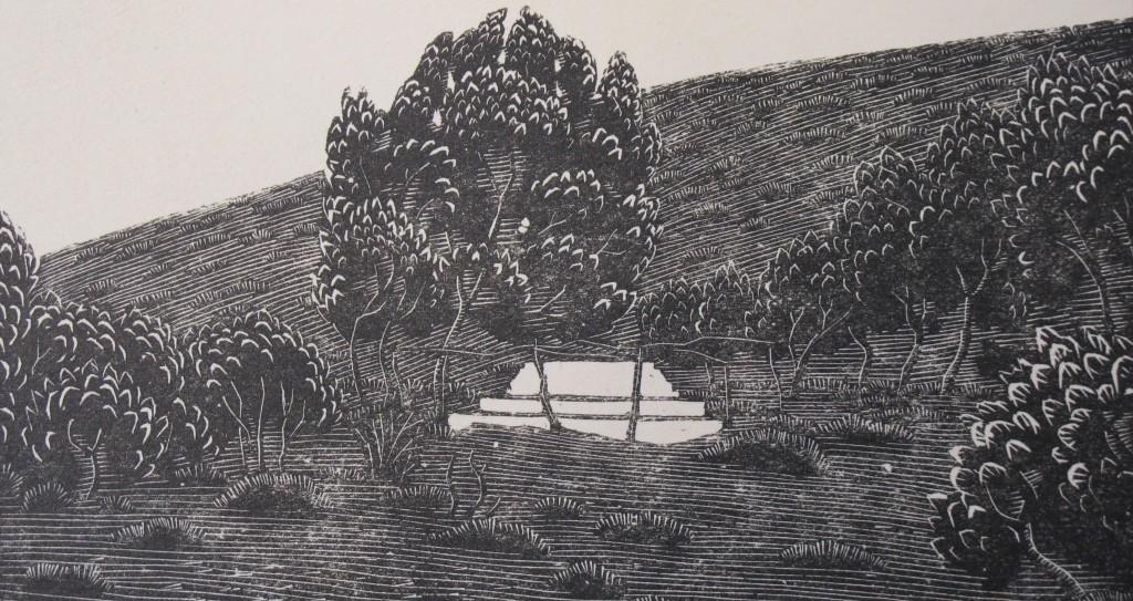 """Woodcut by Phyllis Gardner of Brooke grave, in Casson's """"Rupert Brooke and Skyros"""" (Keynes.J.5.25)"""