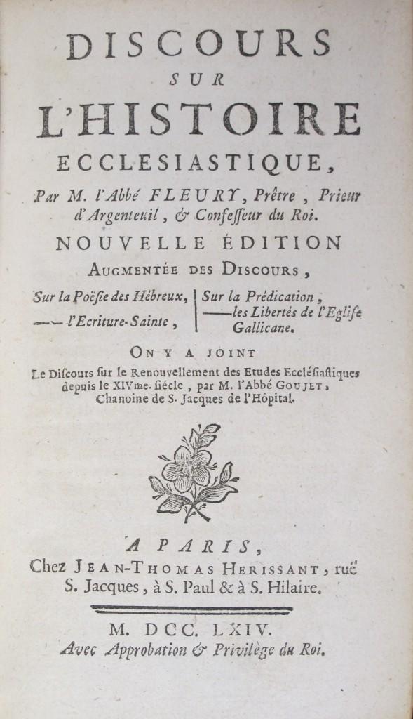Fleury's Discours sur l'histoire ecclesiastique (7000.d.1916)