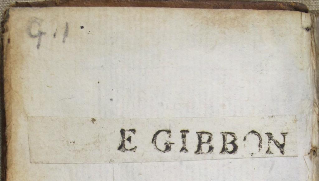 Gibbon's printed name-label (inside 7000.e.454)