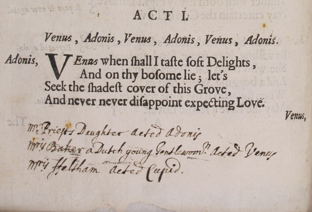 John Verney's inscription in the libretto for Venus and Adonis (1684) - Sel.2.123(6)