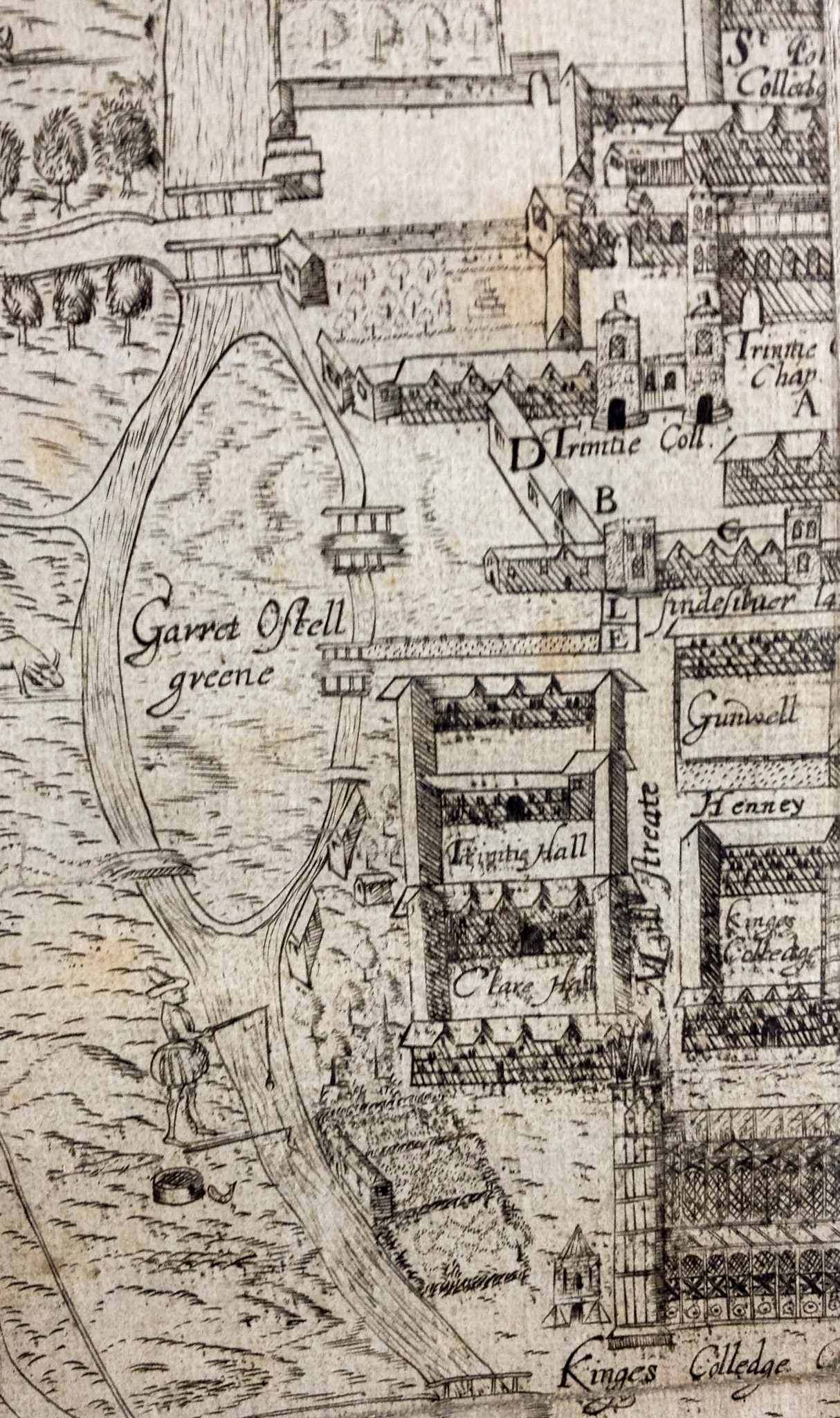 Garret Hostel Green as an island, from Lyne's map of 1574