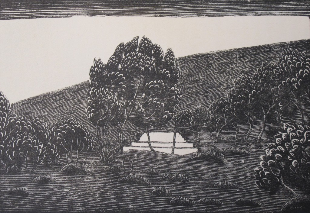 Woodcut illustration of Brooke's grave on Skyros by Phyllis Gardner, from Stanley Casson's 'Rupert Brooke and Skyros' ( Keynes.J.5.25)