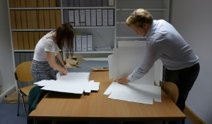 CUP volunteers making up new archival boxes