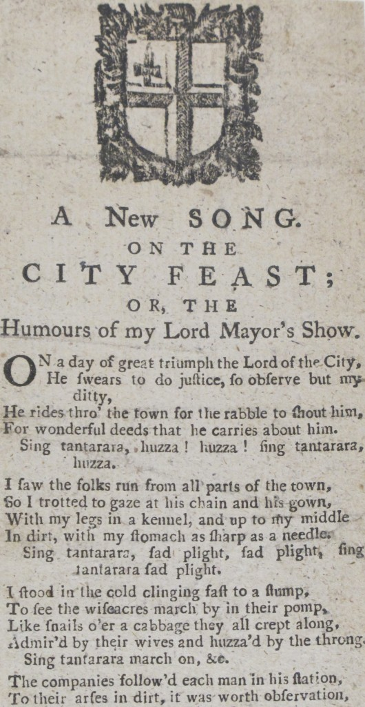 Detail from 'A new song on the City feast', a rare piece of ephemera printed c. 1795 (Madden Ballads 5, 1376)