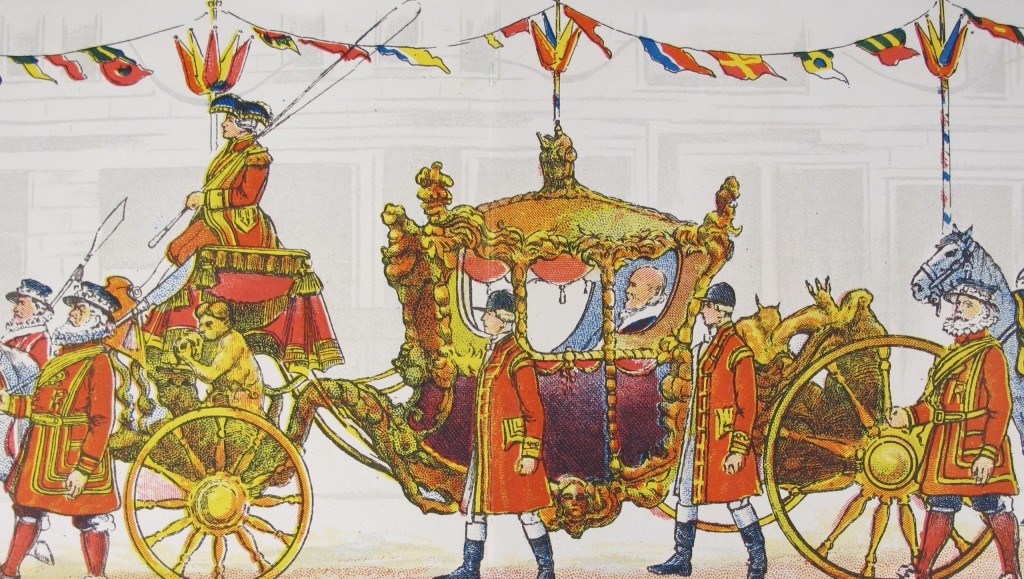 """The Lord Mayor's coach, from """"March's panorama of the Lord Mayor's Show"""" of c. 1915 - shelfmark 1915.9.178(16)"""