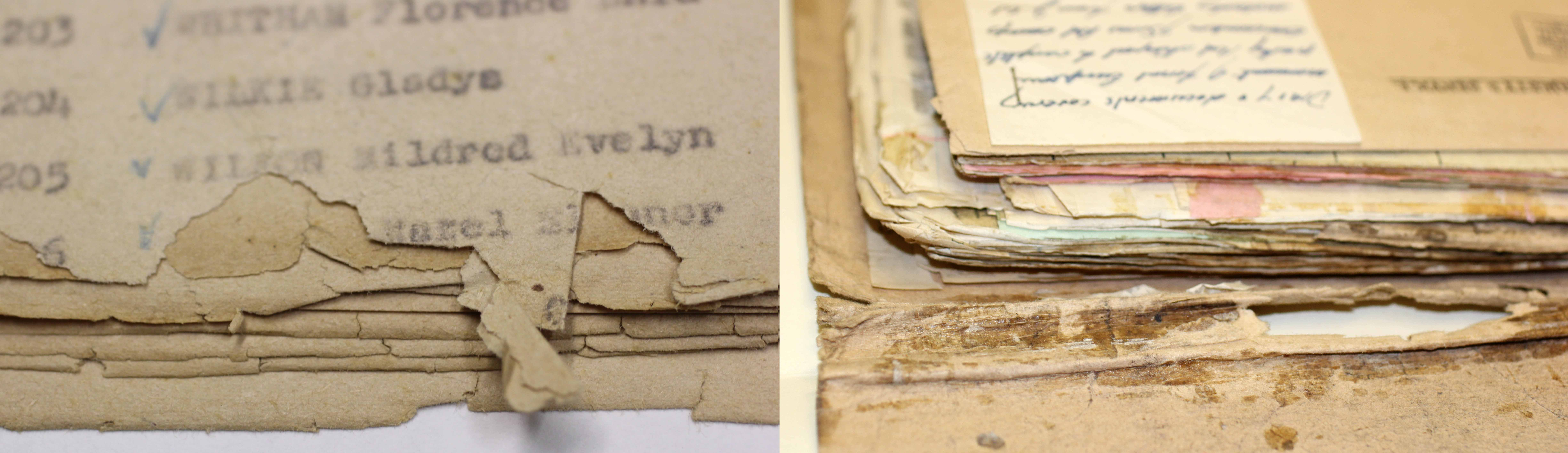 (L) Detail of torn edges (R) Detail of adhesive residue