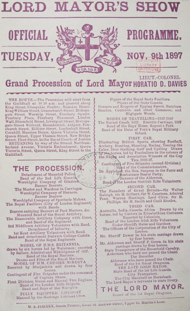 Official programme from the 1897 Show (shelfmark 1897.9.255)