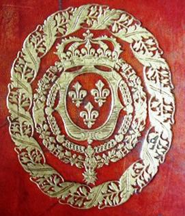 Armorial centre piece, binding of Memoires pour servir a l'histoire naturelle des animaux.