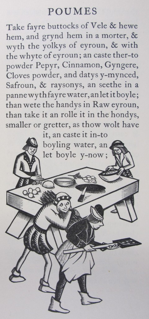 Woodcut illustration by Margaret Webb, in 'Early English recipes' (1937), which contains an introduction by the Cambridge librarian Sir Stephen Gaselee (9420.c.1675)