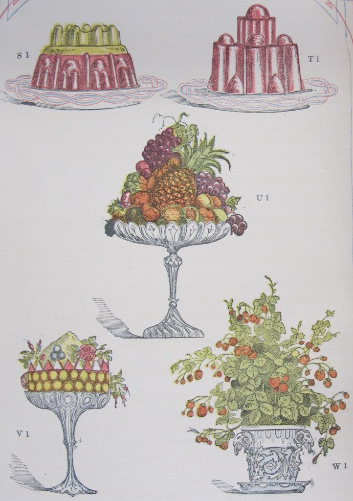 Fruits, jellies and trifle, from the first edition (in monthly parts) of 'Mrs Beeton's book of household management' (S446.d.85.1, item 8)