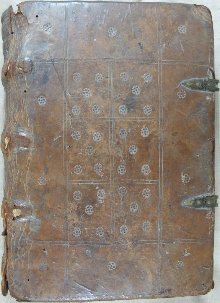 Blind stamped binding on Peterborough.Sp.61