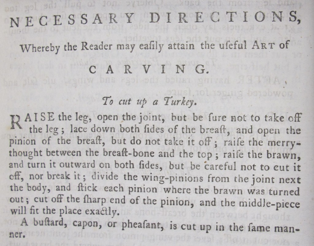 'To cut up a turkey', from the 1784 edition of Hannah Glasse's 'The art of cookery' (SSS.42.15)