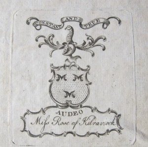 Bookplate of Elizabeth Rose of Kilravock (misprinted 'Kilraviock') in Cunningham's Poems.