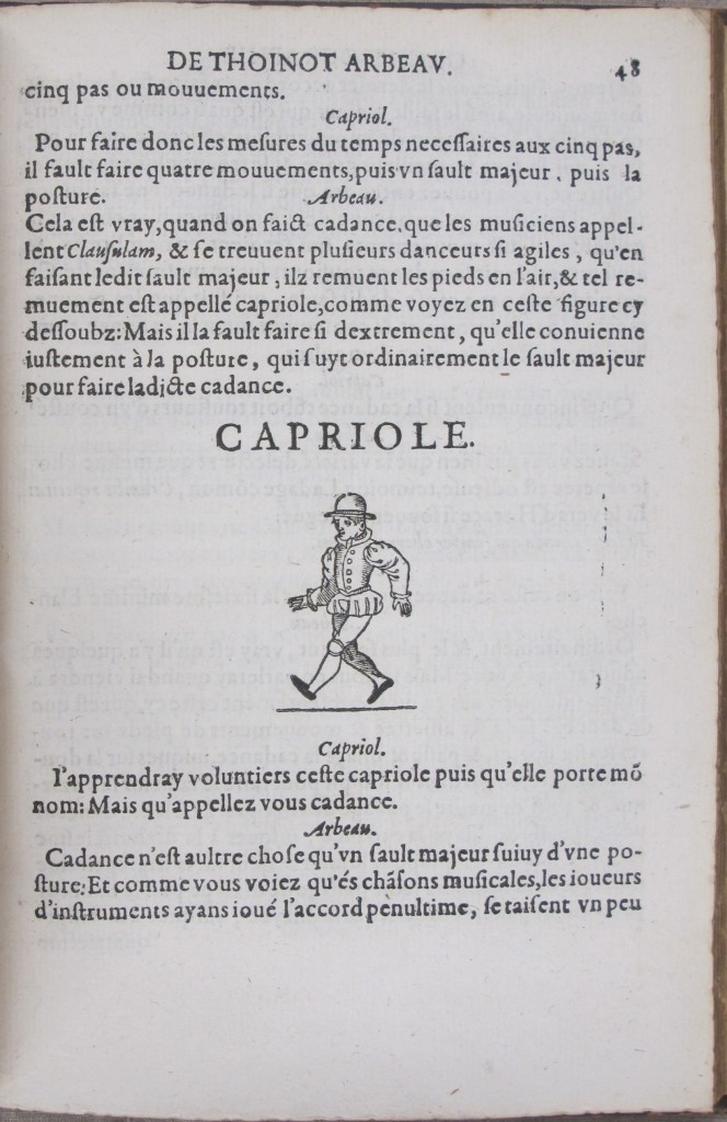 A capriole in Tabourot's Orchesographie (fol. 48)