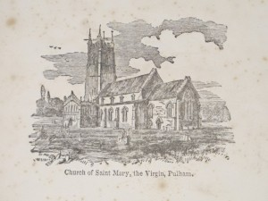 Detail of the frontispiece of The Cheshire and Lancashire Historical Collector, showing the church of St Mary, Pulham, Norfolk.