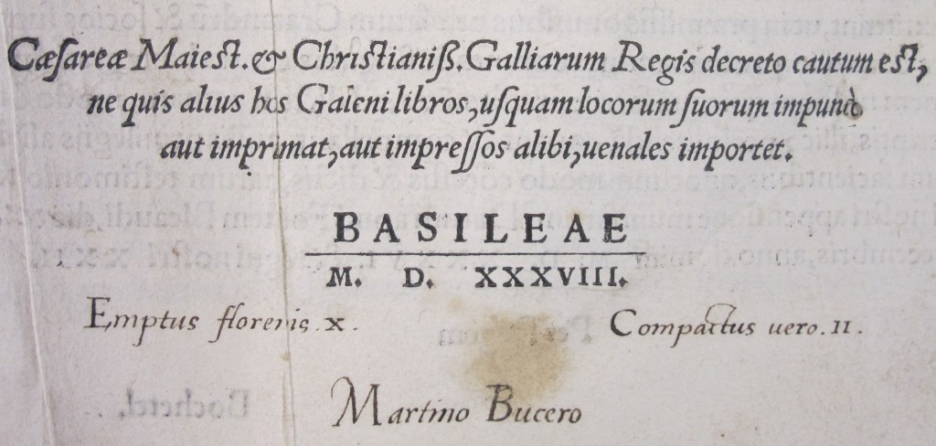 Bucer's ownership inscription in Galen's Works (Basel, 1538), Bury.10.3-7