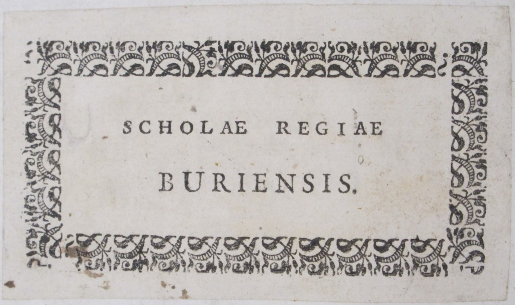 Book label for Bury School