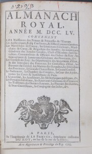 The Almanach royal of 1755