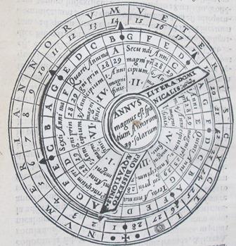 A volvelle in a 1580 work on the Gregorian calendar, Iosephi Zarlini Clodiensis sereniss. reip. Venetiarum in aede d. Marci musicorum magistri, De vera anni forma, siue De recta eius emendatione, (N.10.15)
