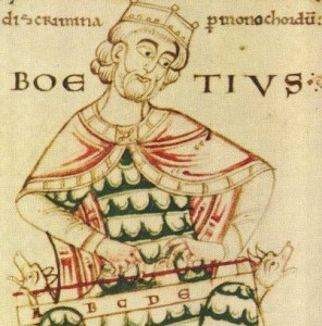 Boethius depicted as a musician from CUL MS Ii.3.12, fol. 61v