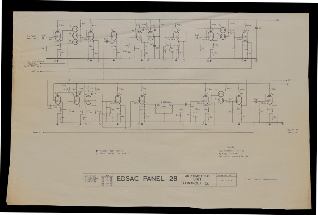 6th version of the diagram for EDSAC Panel 28, 1953 (UA COMP.22)