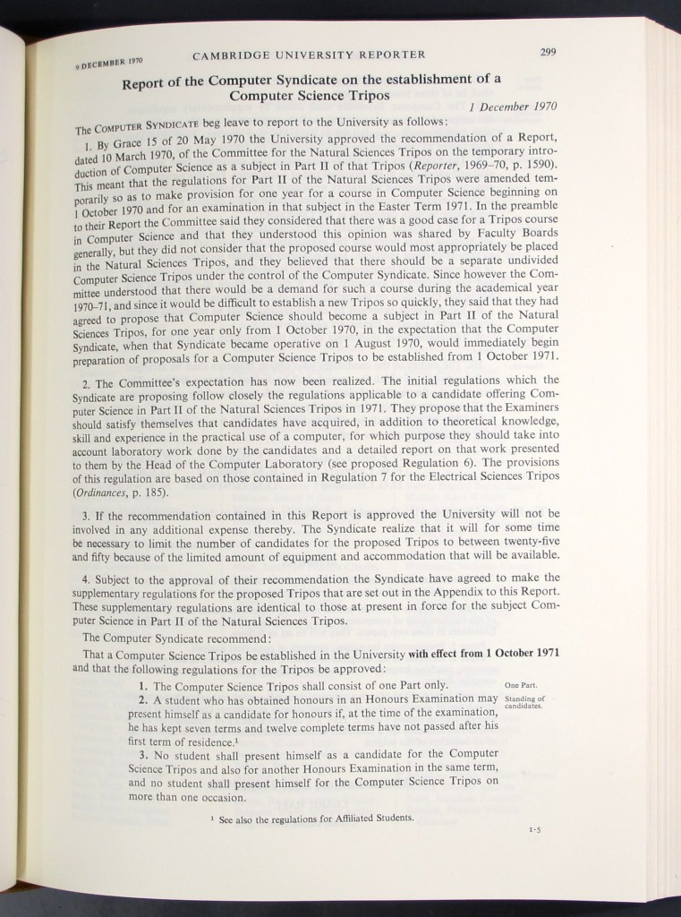 First page of the report of the Computer Syndicate on the establishment of a Computer Science Tripos, in the Cambridge University Reporter