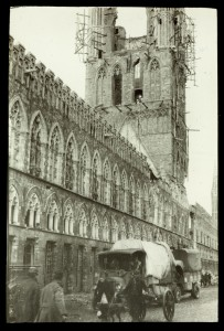 Shell damage to the medieval Cloth Hall (south side), Ypres, Belgium, 1915