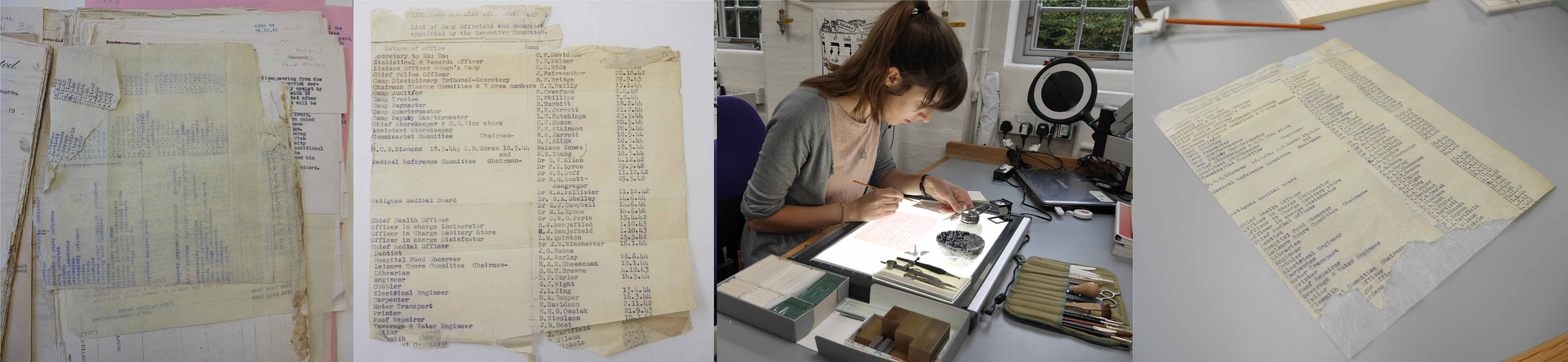 (L-R) Example of a leaf in bad condition, the removed leaf of paper, Conservator Emma Nichols applying repairs the leaf on a light box, the leaf of paper after repair with conservation archival quality tissue