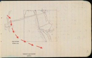 Map from Sassoon's journal, 26 June-12 Aug 1916 (CUL MS Add. 9852/1/7)