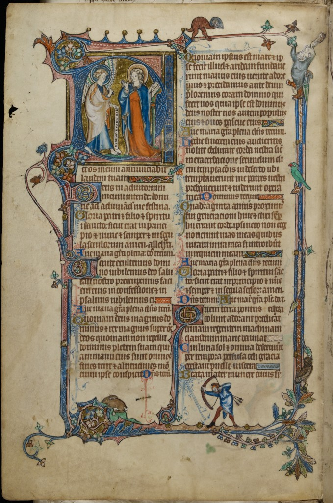 Hours of the Virgin, with historiated initial depicting the Annunciation (the Midlands, early 14th century), MS Dd.8.2, f. 27v