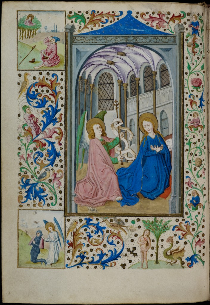 Full-page miniature of the Annunciation, with four-sided foliate border containing small miniatures of Moses and the Burning Bush, the Miracle of Gideon and the Temptation of Eve (N. Netherlands, Zwolle, probably c. 1470), MS Add. 4103, f. 17v