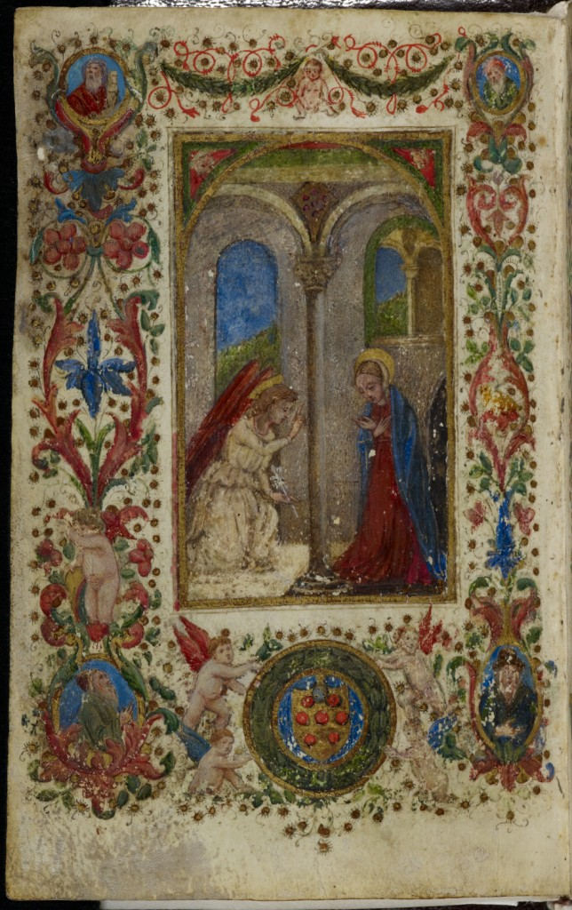 Full-page miniature of the Annunciation, with four-sided foliate border containing busts of prophets, putti, and the Medici coat of arms (Italy, Florence, 1487-88), MS Add. 4101, f. 1v