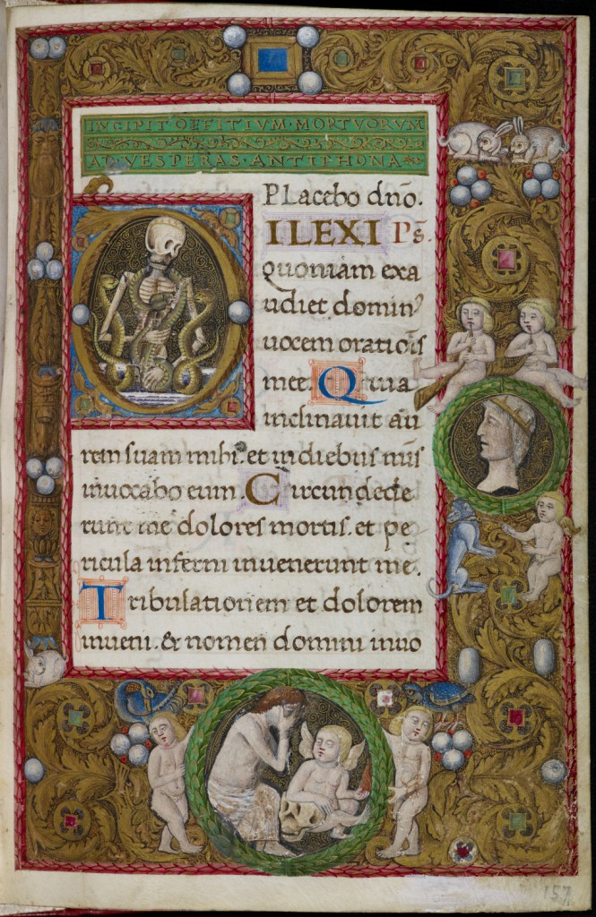 The Office of the Dead, with historiated initial depicting a skeleton entwined with serpents and a four-sided gold acanthus and jewel border with animals, putti and mourning figure (Italy, Naples, 1484-92), MS Add. 4105, f. 157r